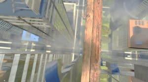 קורת עץ על גורד שחקים במציאות מדומה